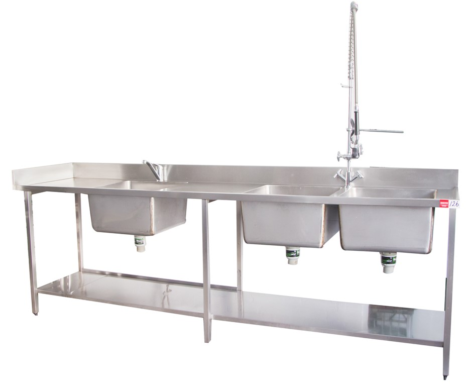 S/S Freestanding Triple Bowl Sink complete with new Spray Rinse Arm Tap