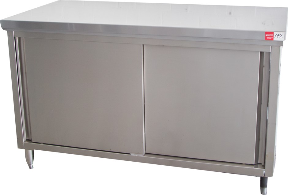 S/S Kitchen Preparation Bench with S/S Stand Sliding Doors under