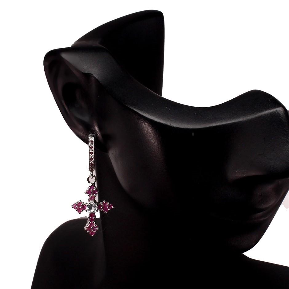 Unique Ruby & Aquamarine Cross Earrings.