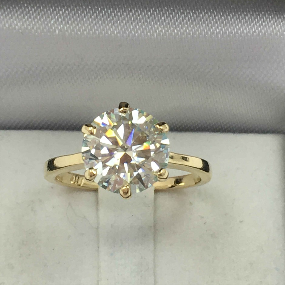 18ct Yellow Gold, 2.60ct Moissanite Ring