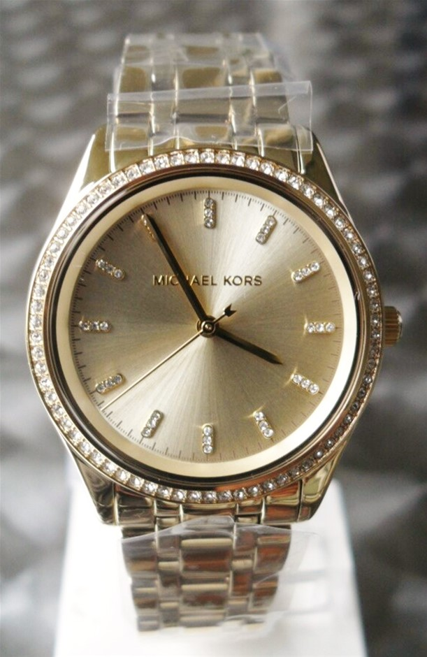 Ladies new Michael Kors Couture NY 'Sophie' stunning gold plated watch.