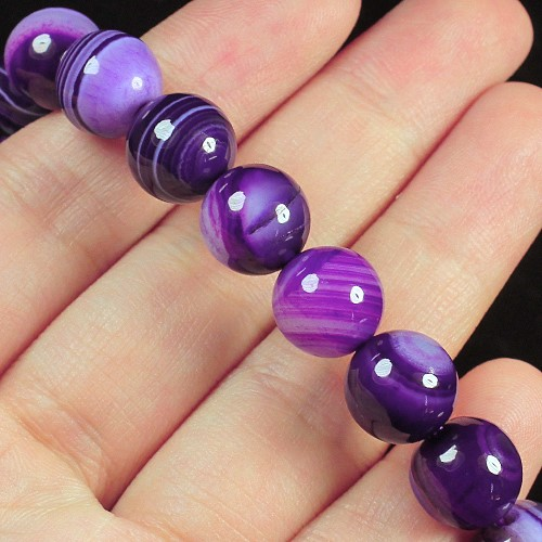 139ct. Genuine Purple Agate Beaded Bracelet