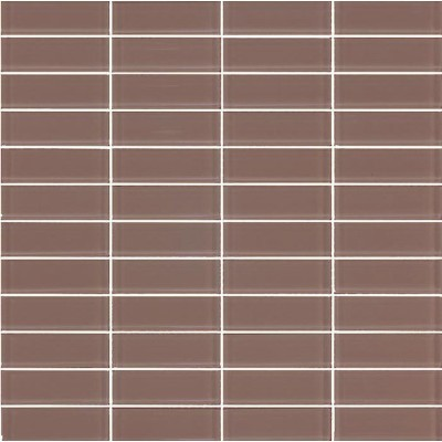 Cotto 06T-GL-7000 Cocoa Glass Mosaic Tiles 22x73mm On Sheets, 4.6m², 75Kg