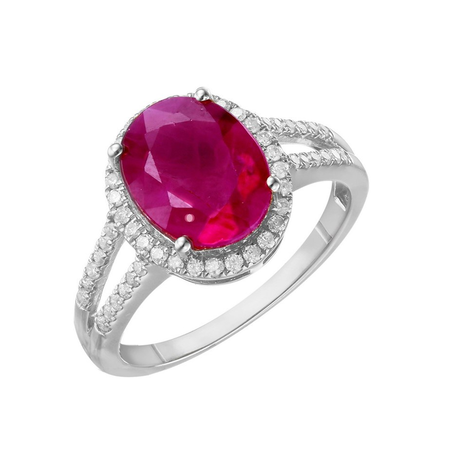 9ct White Gold, 3.69ct Ruby and Diamond Ring