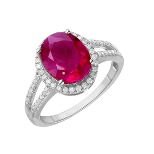 9ct White Gold, 3.69ct Ruby and Diamond