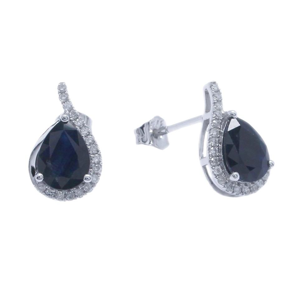 18ct White Gold, 2.79ct Blue Sapphire and Diamond Earring
