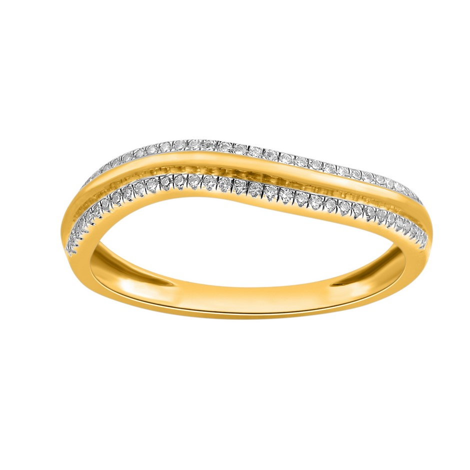 9ct Yellow Gold, 0.10ct Diamond Ring