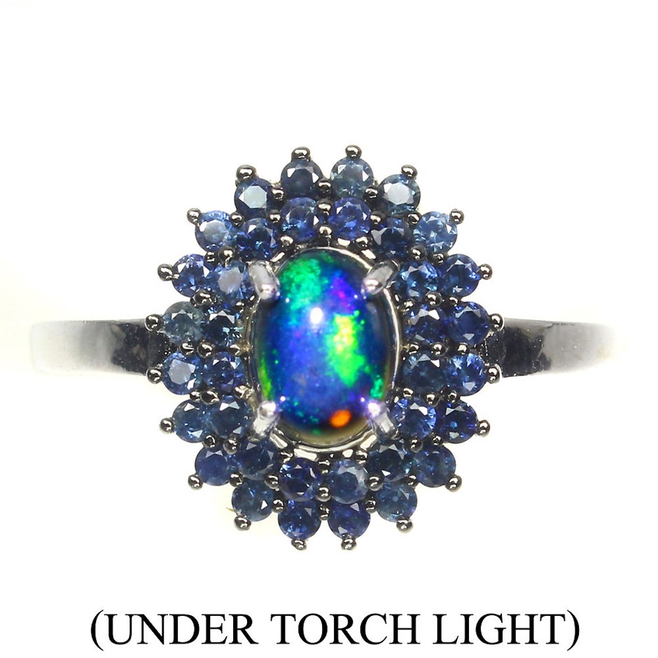 Amazing Genuine Fire Opal & Sapphire Ring