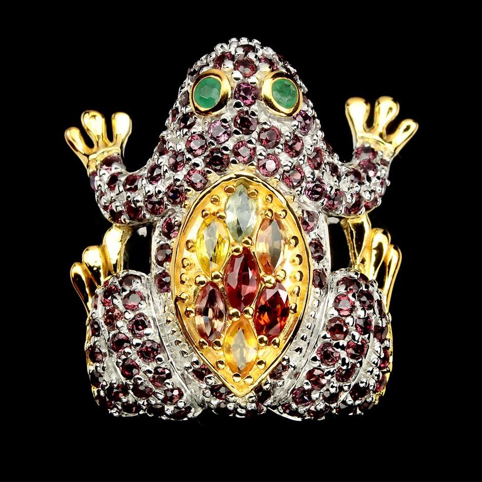 Phenomenal Genuine Emerald & Sapphire Froggy Ring