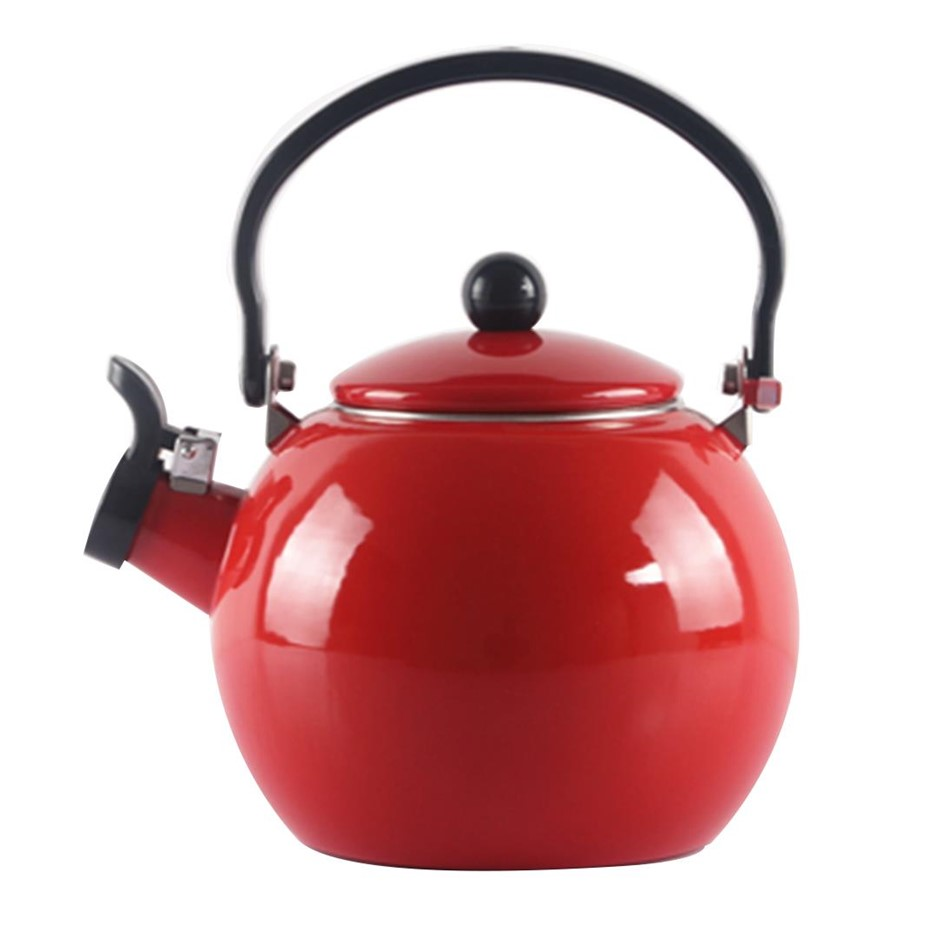 2.0 Litre 18/10 Stainless Steel Enamelled Porcelain Kettle Kitchen New Red