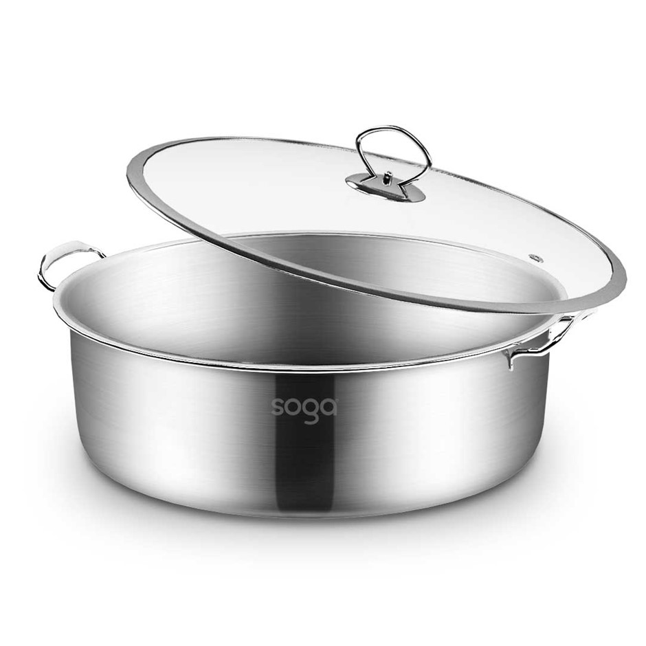 SOGA Stainless Steel 26cm Casserole With Lid Induction Cookware