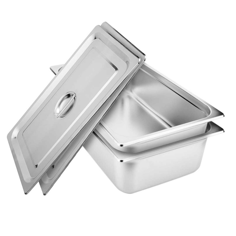 SOGA 2x Gastronorm GN Pan Full Size 1/1 GN 150mm Stainless Steel Tray w/Lid