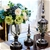 SOGA 2 x Clear Glass Flower Vase with Lid & Transparent Filler Vase Black