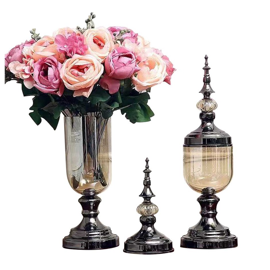 SOGA 2 x Clear Glass Flower Vase with Lid & Pink Flower Filler Vase Black