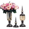 SOGA 2 x Clear Glass Flower Vase with Lid & Pink Flower Filler Vase Black