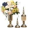 SOGA 2x Clear Glass Flower Vase with Lid & White Flower Filler Vase Bronze