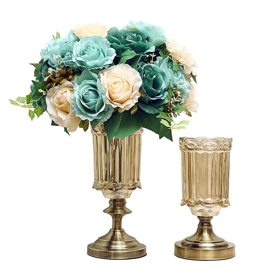 SOGA 25cm 28.5cm Transparent Glass Flower Vase with Blue Flower Set