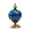 SOGA 38.50cm Ceramic Oval Flower Vase with Gold Metal Base Dark Blue