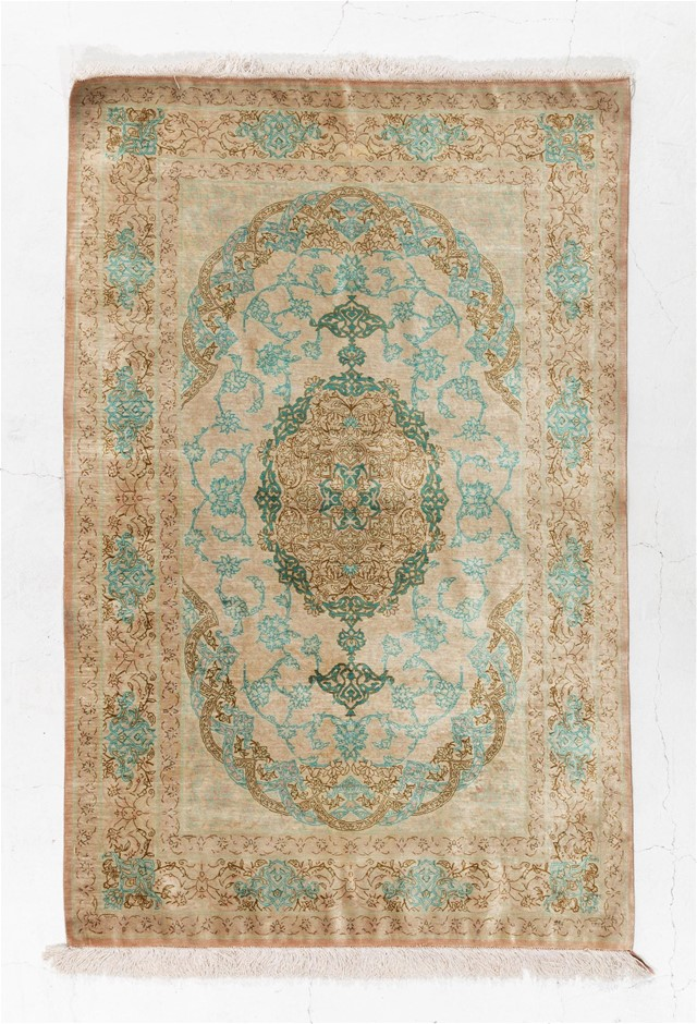 Persian Qom 100% SILK Pile hand knotted Size (cm): 95 x 147