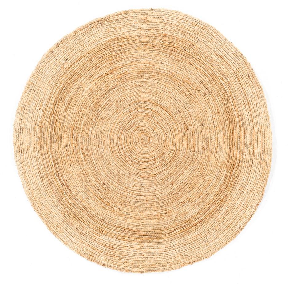 Hand Braided Pure Jute Natural Fibre Circular Floor Rug Size (cm): 150x150