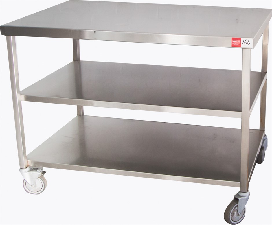 3 Tier Mobile Stainless Steel Preparation Bench on Wheels with Brakes