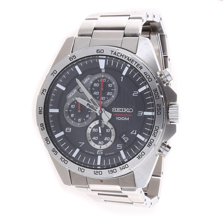 SEIKO Men`s Chronograph 45mm Watch with Stainless Case and Bracelet, Silver