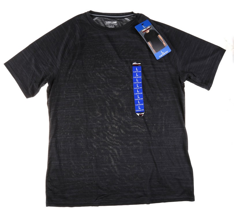 SIGNATURE Men`s Active Tee, Size L, 4-Way Stretch Fabric, Moisture Wicking