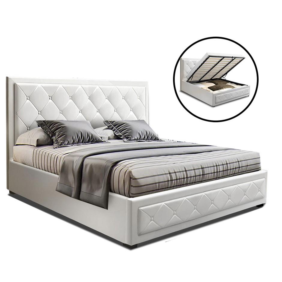 Artiss TIYO Queen Gas Lift Bed Frame Base, Storage Mattress White Leather