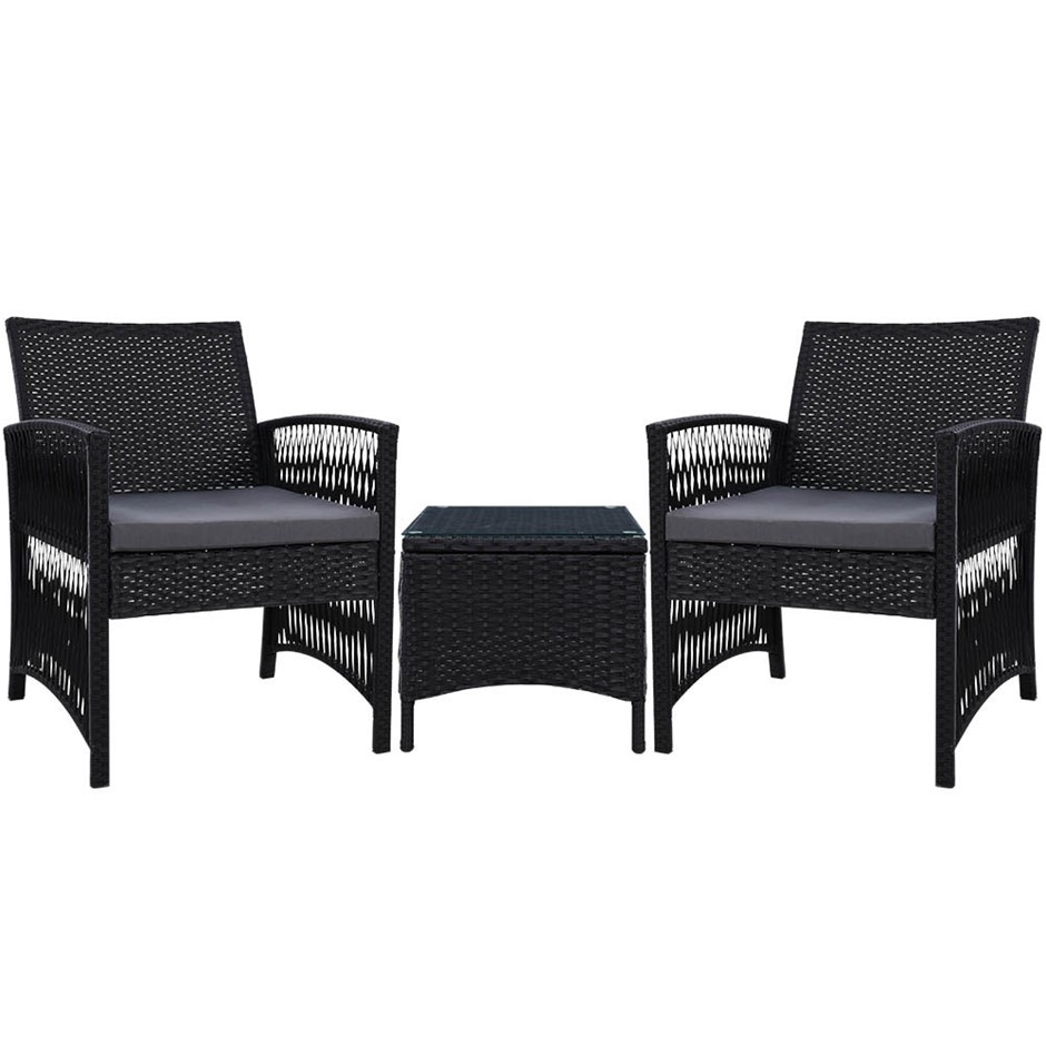 Gardeon Patio Furniture Outdoor Bistro Set Dining Chairs 3 Piece Wicker