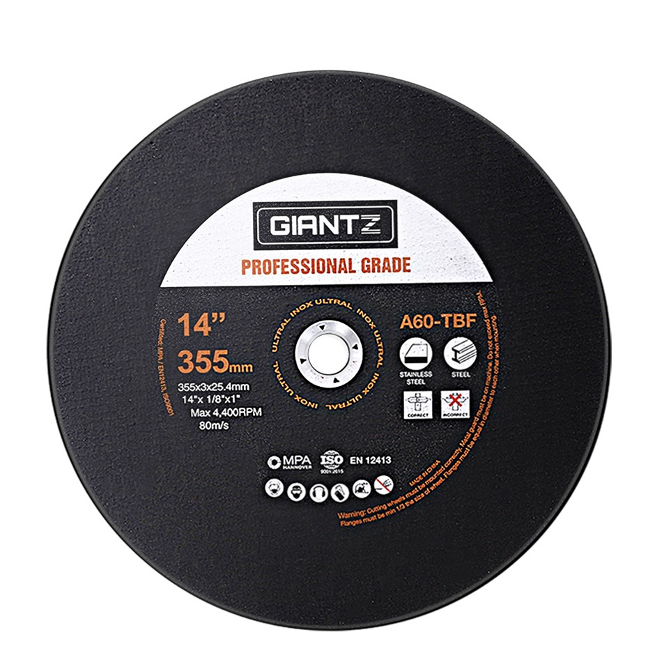 "Giantz 10 x 14"" Cutting Disc 355mm Metal Cut Off Wheel Angle Grinder Steel"