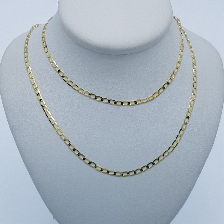 Genuine Italian Solid 9 Karat yellow Gold 50 cm chain necklace