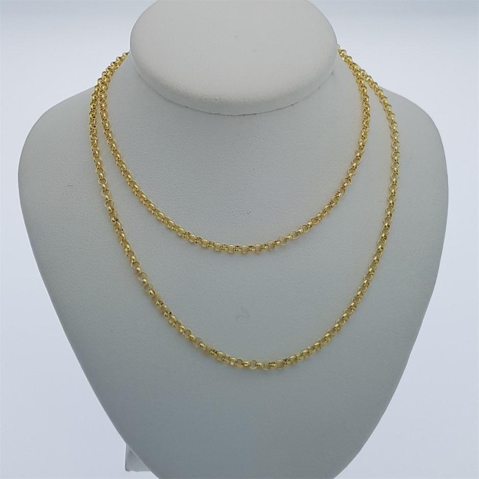 Genuine Italian Solid 9 Karat yellow Gold 50 cm Belcher chain necklace