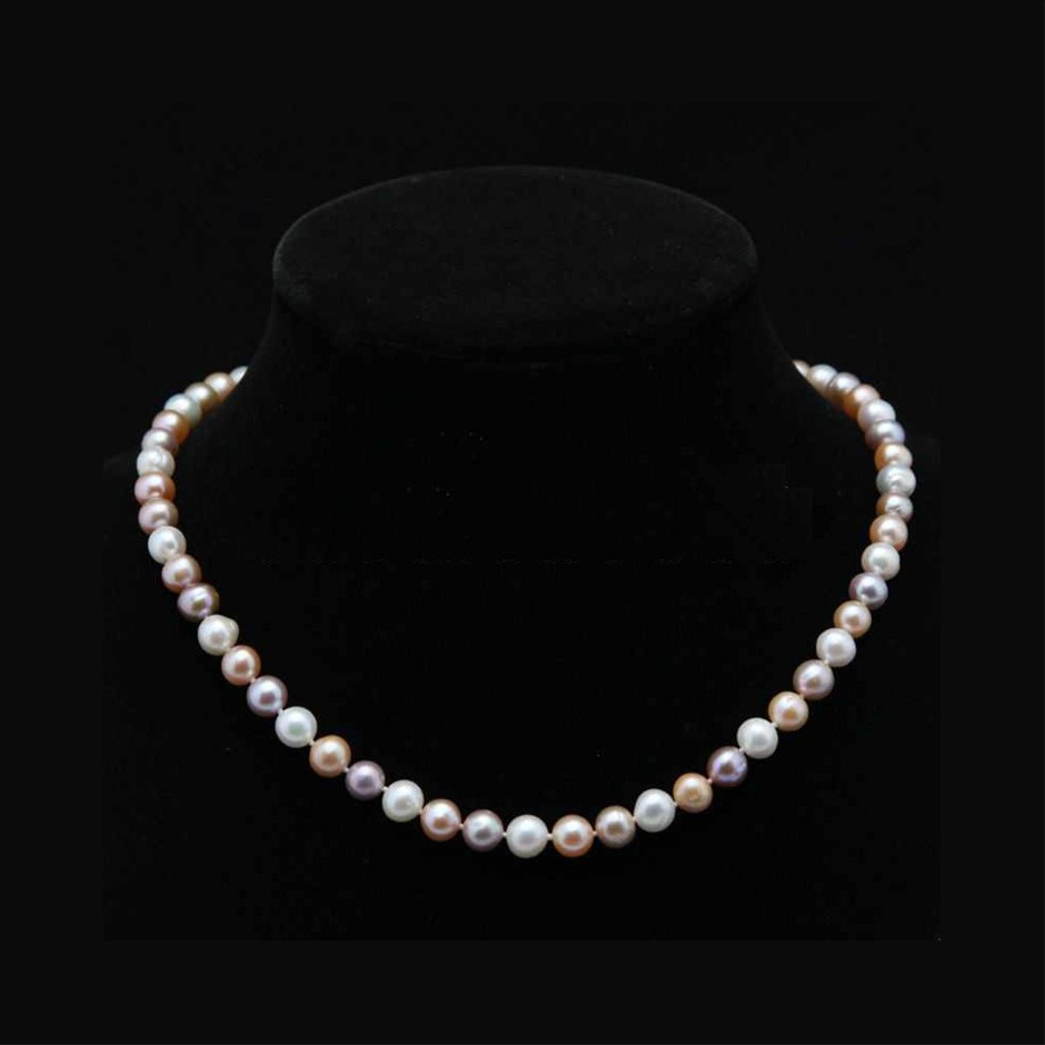 Genuine Natural 7-8mm White Pink & Purple Akoya Cultured Pearl Necklace 20""