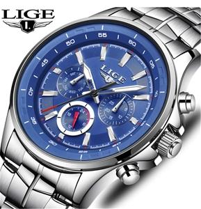 LIGE Men Luxury Quartz Multifunction Chr
