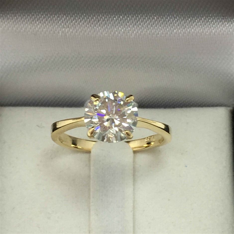 18ct Yellow Gold, 1.50ct Moissanite Ring
