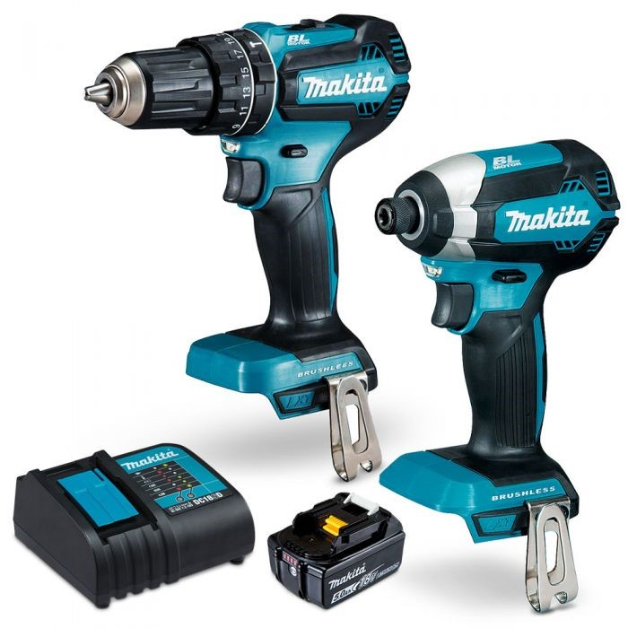 MAKITA 18V Brushless 2pc Combo Kit c/w Impact Driver Hammer Drill, 5.0Ah Ba