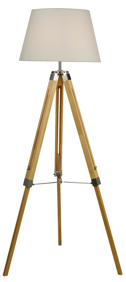 Modern Floor Lamp Wood Tripod Home Bedroom Reading Light 145cm