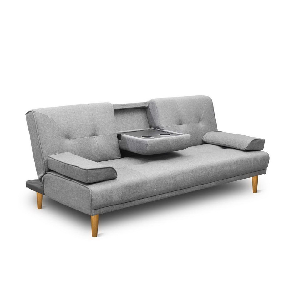 Artiss 3 Seater Linen Fabric Sofa Bed - Grey