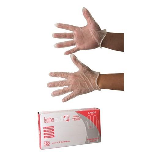 50 Cartons of Glove Disposable Vinyl SML Powder Free Clear Feathertouch