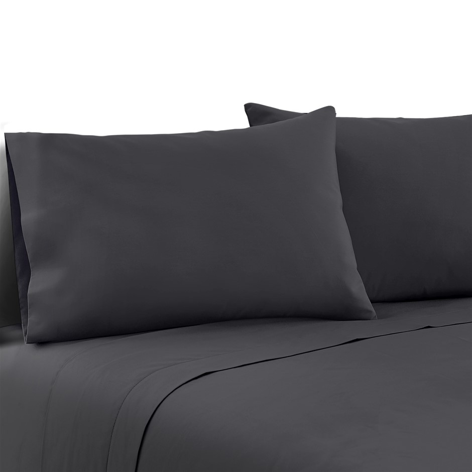 Giselle Bedding King Charcoal 4pcs Bed Sheet Set Pillowcase Flat Sheet