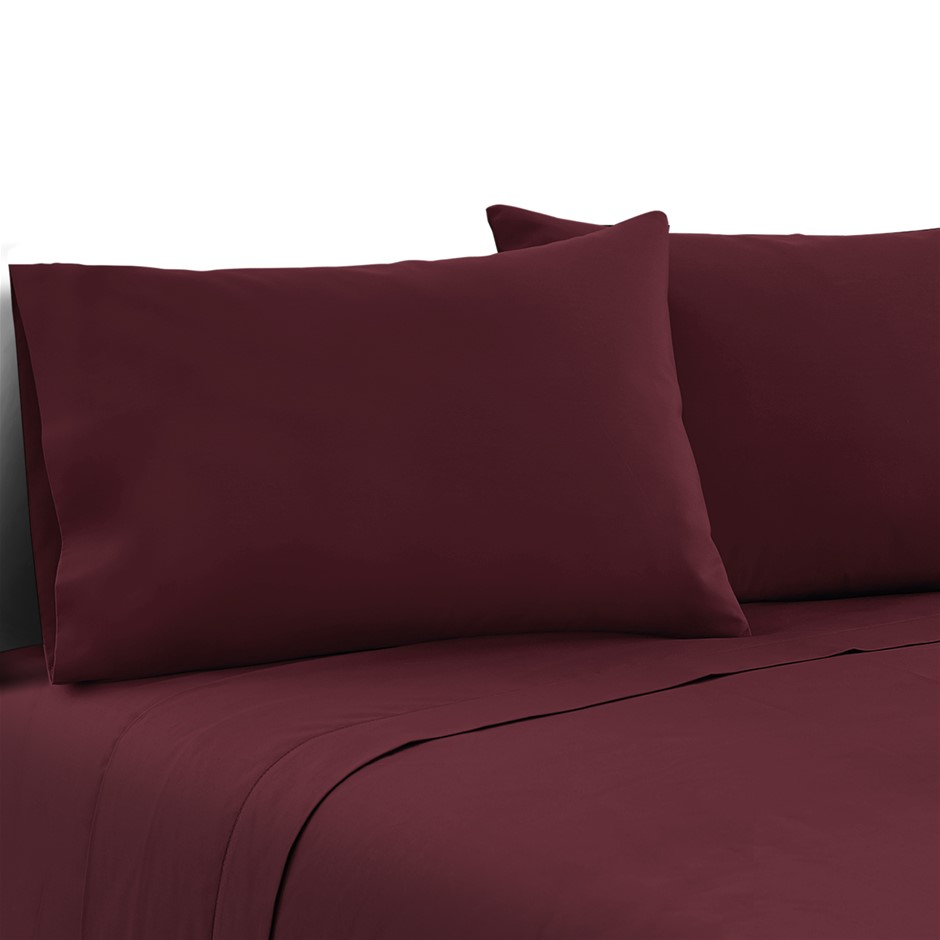 Giselle Bedding Double Burgundy 4pcs Bed Sheet Set Pillowcase Flat Sheet