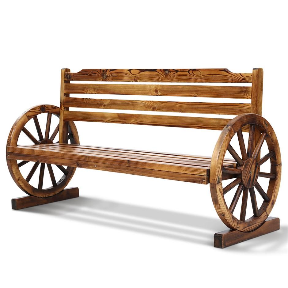 Gardeon Garden Bench Wooden Wagon Chair 3 Seat Outdoor Backyard Lounge