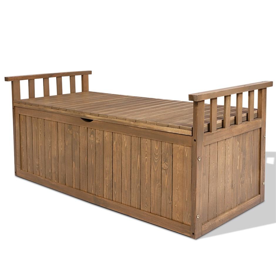 Gardeon Outdoor Storage Box Wooden Garden Bench 128.5cm Tool Toy Sheds XL