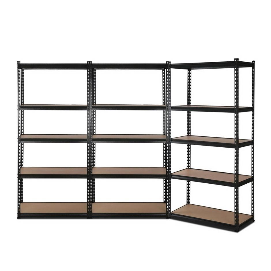 3x1.8M 5-Shelves Steel Warehouse Shelving - Black