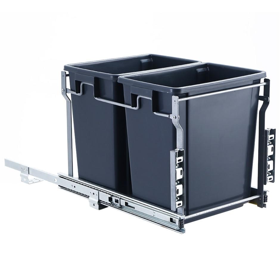 Devanti 2x15L Pull Out Bin Door Mount Kitchen Rubbish Bin Grey