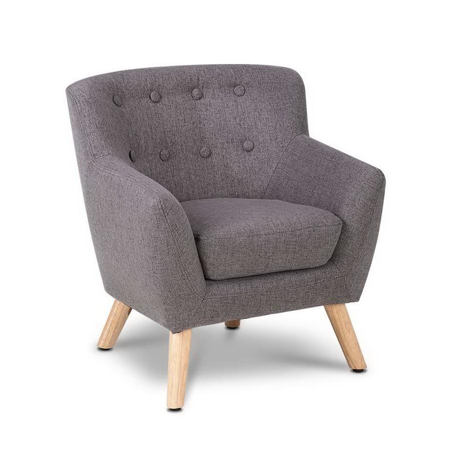 Artiss Kids Fabric Accent Armchair - Grey