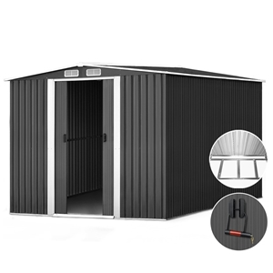 Giantz 2.02 x 3.2m Metal Shed - Grey