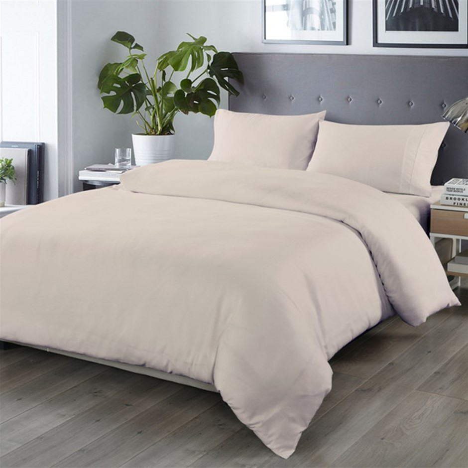 Royal Comfort Blended Bamboo Quilt Cover Sets -Warm Grey-Double