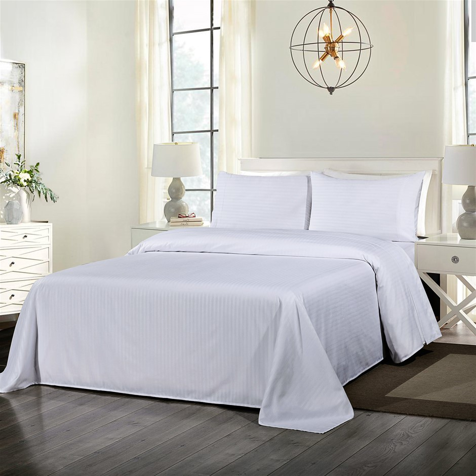 Royal Comfort Blended Bamboo Sheet Set with Stripes - Queen - White