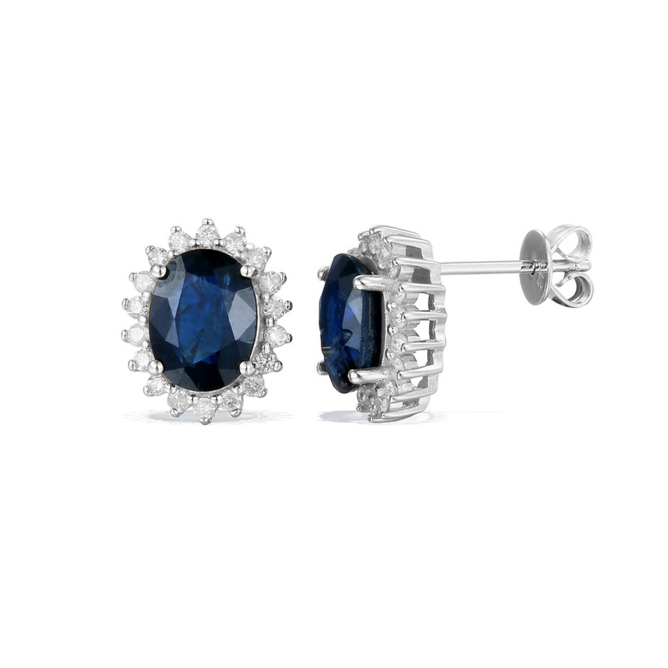 9ct White Gold, 2.56ct Blue Sapphire and Diamond Earring